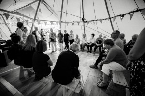 Warming up inside one of the Tepees!